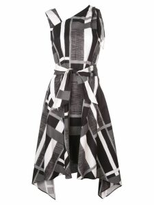 Josie Natori taisho stripe belted dress - Black