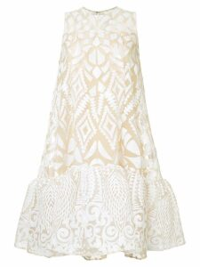 Huishan Zhang geometric patterned midi dress - Neutrals
