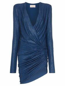 Alexandre Vauthier Plunge-neck crystal embellished mini dress - Blue