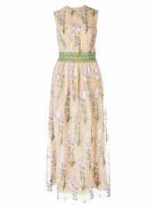 Costarellos floral embroidered maxi dress - Neutrals