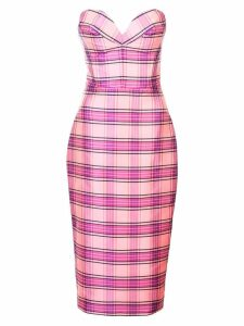 Christian Siriano plaid strapless dress - Pink