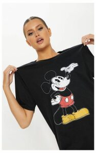 Black Mickey Mouse Disney Printed T Shirt, Black