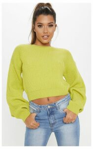 Lime Wide Sleeve Knitted Jumper, Green