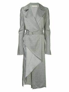 Dion Lee check wrap trench-dress - Blue