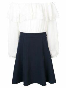 Blugirl two-tone ruffle dress - White