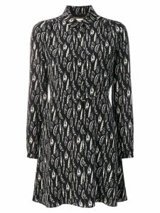 Saint Laurent feather print shirt dress - Black