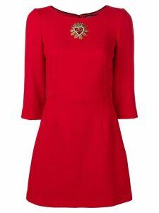 Dolce & Gabbana embellished heart mini dress - Red