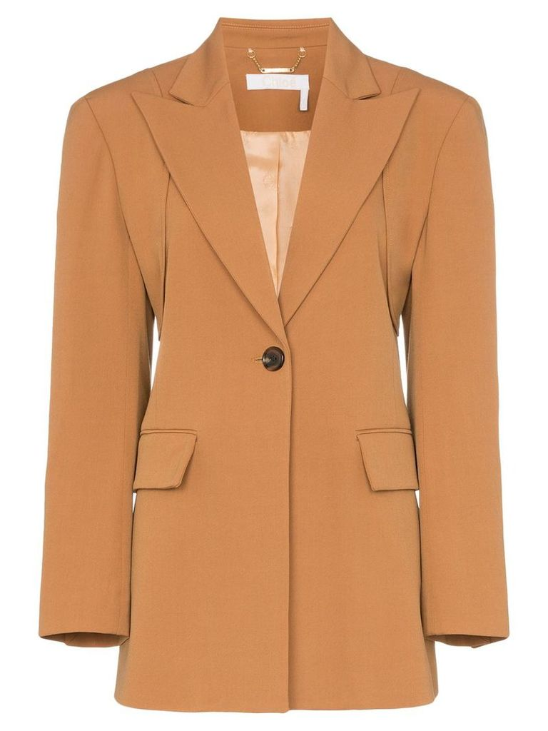 Chloé Single-breasted wool blend blazer - Brown