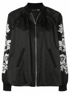 Josie Natori embroidered detailed bomber jacket - Black