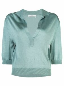 Tibi Crispy cropped sleeves polo shirt - Blue