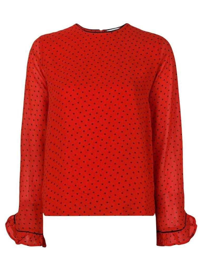 Ganni polka dot blouse - Red