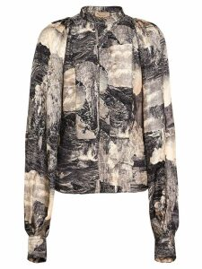 Burberry Puff-sleeve Dreamscape Print Silk Blouse - Brown