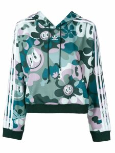 Adidas all-over print cropped hoodie - Green