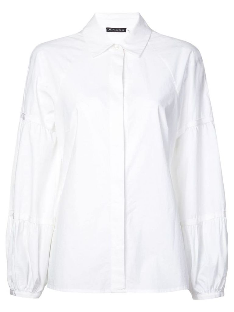 Josie Natori puff-sleeve fitted shirt - White