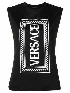 Versace logo printed vest top - Black