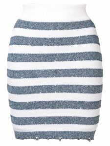 Balmain striped skirt - Blue