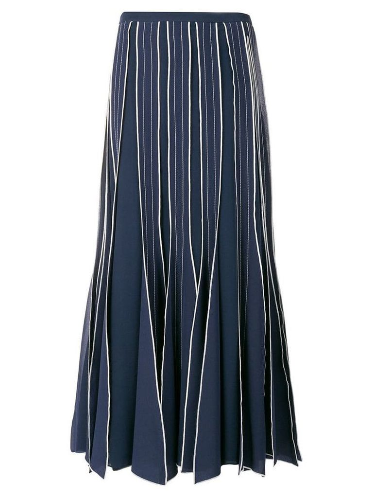 Tory Burch pleated embroidered skirt - Blue