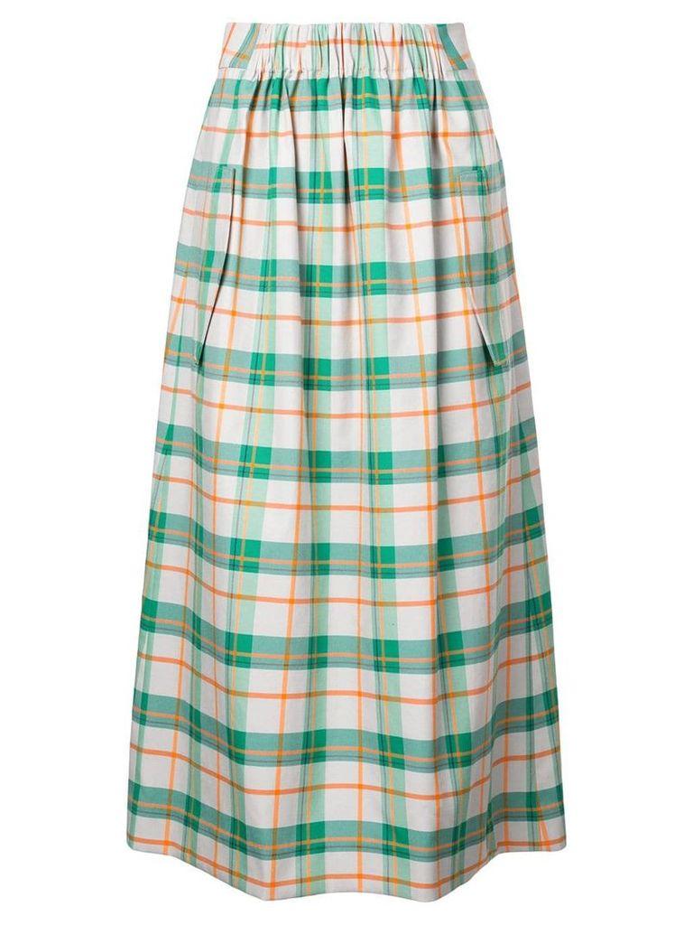 Tibi Hani plaid smocked skirt - Green