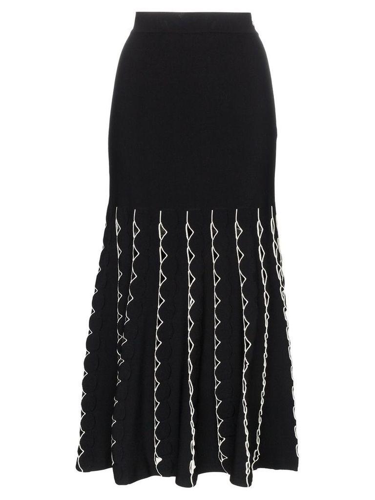 Alexander McQueen high waist fitted flared cutout skirt - Black
