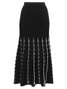 Alexander McQueen high waist fitted flared cutout skirt - Black