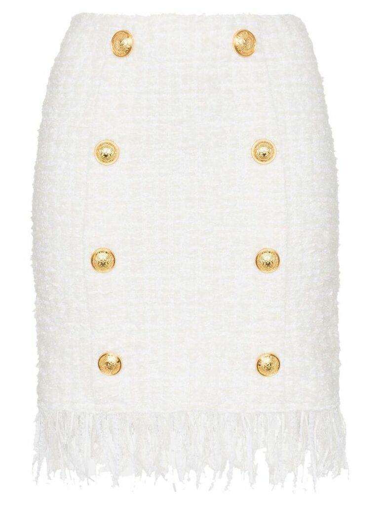Balmain tweed shredded hem gold tone button skirt - White