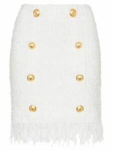 Balmain tweed shredded hem gold tone button skirt - White
