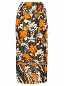 Prada floral print silk wrap skirt - Orange