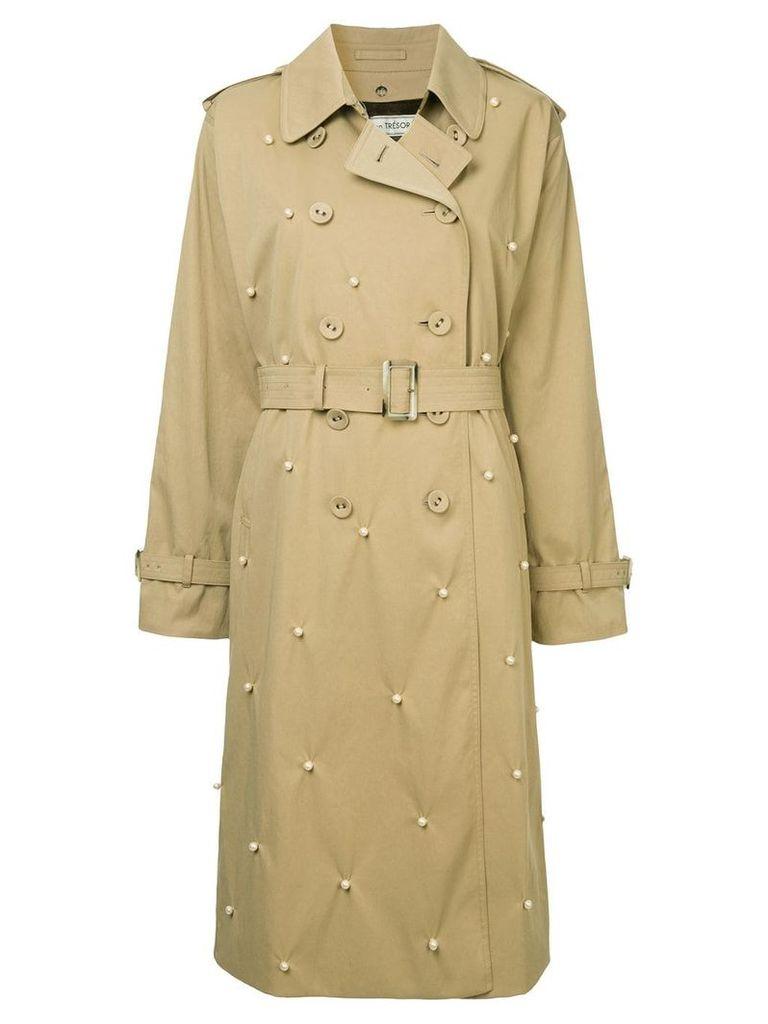 Tu es mon TRÉSOR Dot pearl trench coat - Brown