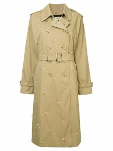 Tu es mon TRÉSOR Dot pearl trench coat - Brown