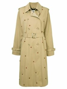 Tu es mon TRÉSOR Dead stock flower beads trench coat - Brown