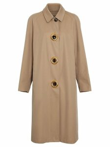 Burberry Grommet Detail Cotton Gabardine Car Coat - Neutrals