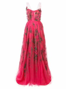 Carolina Herrera embroidered tulle gown - Pink