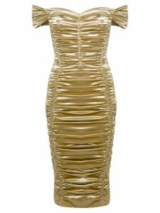 Dolce & Gabbana ruched midi dress - Gold