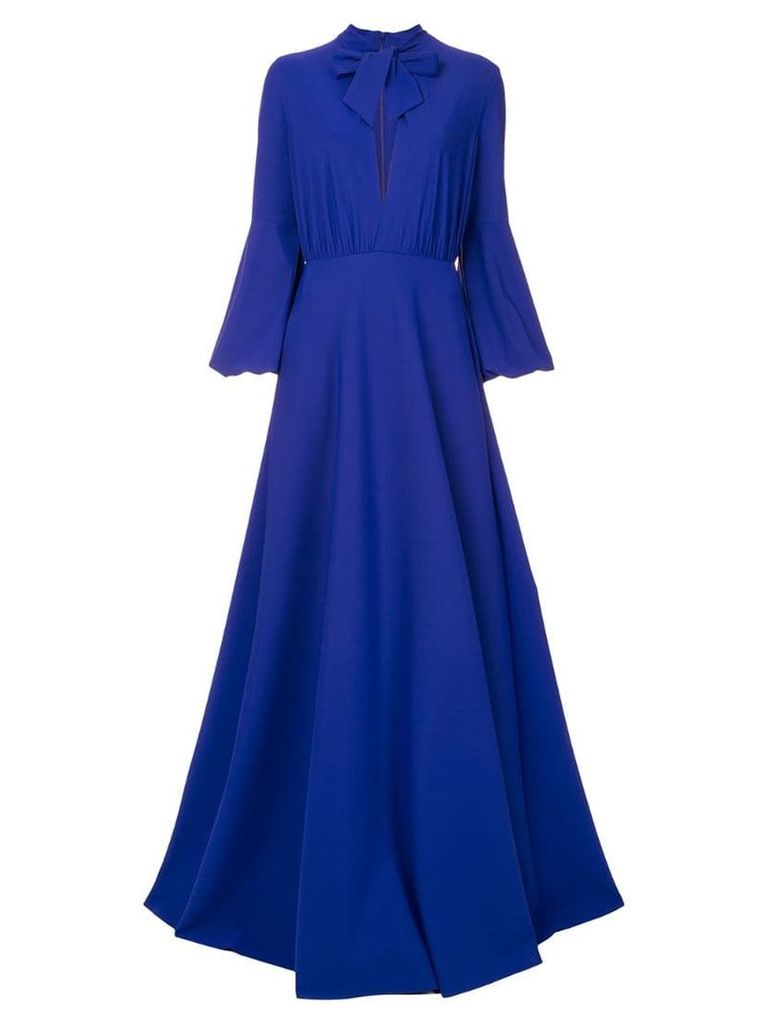 Greta Constantine Harlow pussy-bow gown - Blue