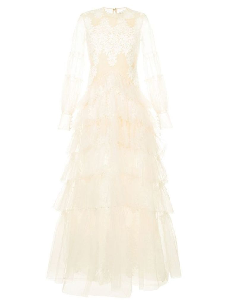 Huishan Zhang floral lace gown - White