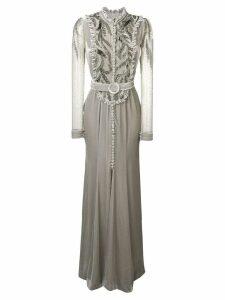 Parlor embellished bib gown - Grey