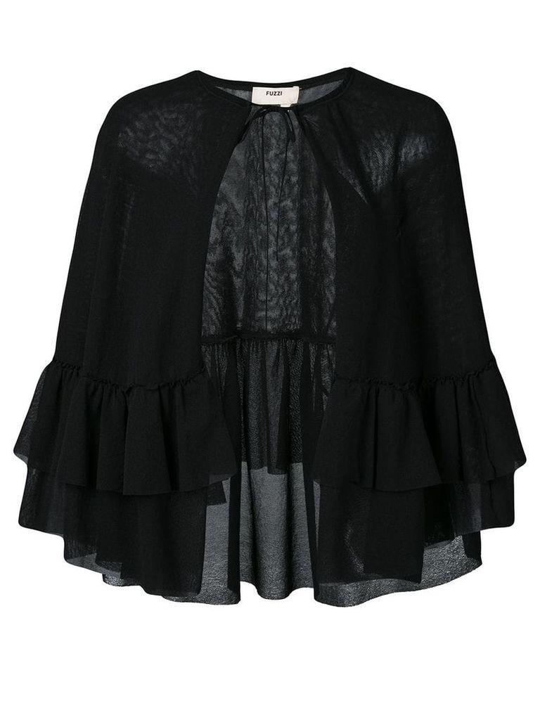 Fuzzi sheer cape jacket - Black