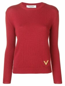 Valentino V plaque sweater - Red