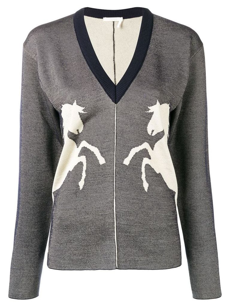 Chloé horse embroidered sweater - Blue