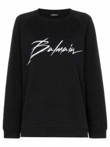 Balmain logo print cotton jumper - Black