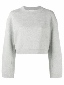T By Alexander Wang logo embroidery cropped sweatshirt - Grey