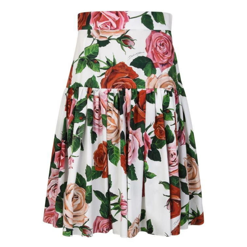 DOLCE AND GABBANA Rose Midi Skirt