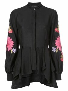 Josie Natori embroidered tunic top - Black