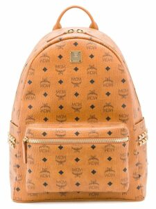 MCM logo print backpack - Brown