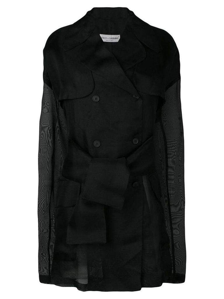 Dolce & Gabbana Vintage 1990's sheer double breasted coat - Black