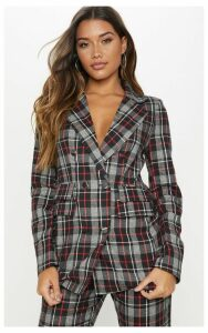 Black Check Triple Breasted Oversized Blazer, Black
