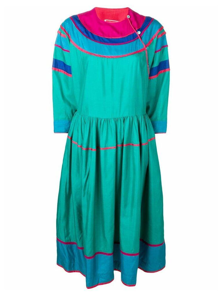 Kenzo Vintage colour block silk dress - Blue