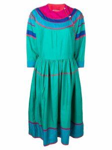Kenzo Pre-Owned colour block silk dress - Blue