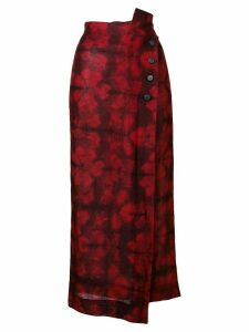 Romeo Gigli Pre-Owned 1990's floral wrapped skirt - Red
