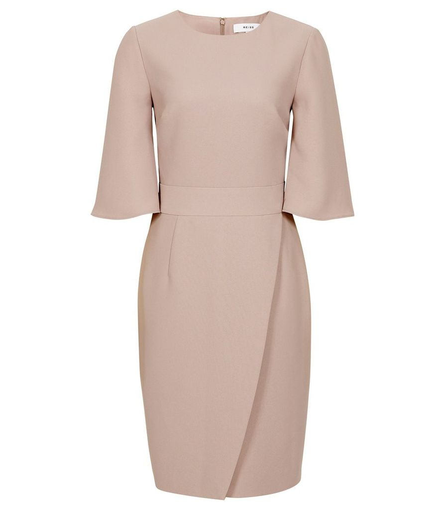 Reiss Myra - Tailored Wrap Front Dress in Neutral, Womens, Size 16